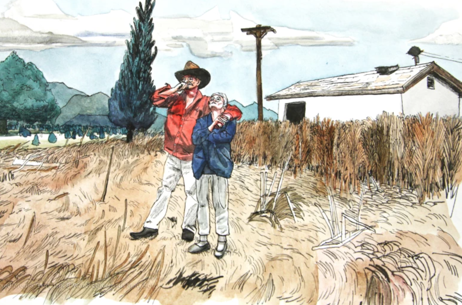 pen and ink farmers in a field