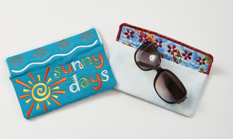embroidered sunglasses case