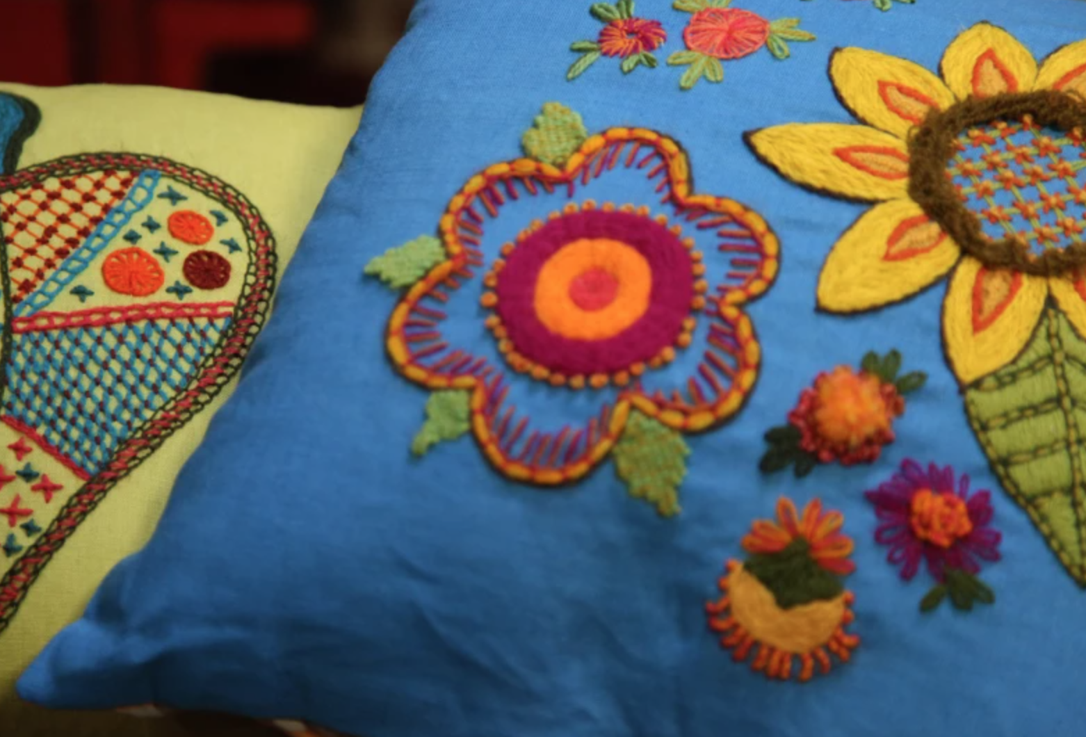 crewel embroidery on pillows