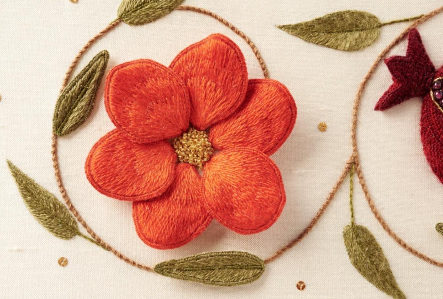 stumpwork embroidery flower