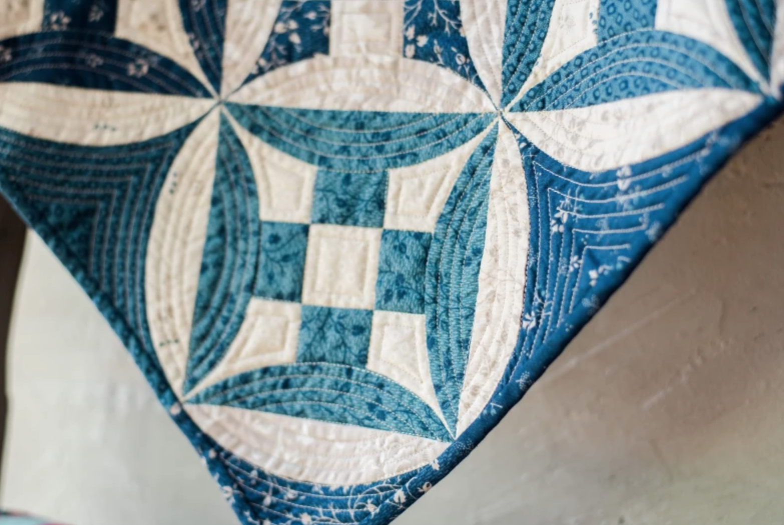 blue and white quilt binding