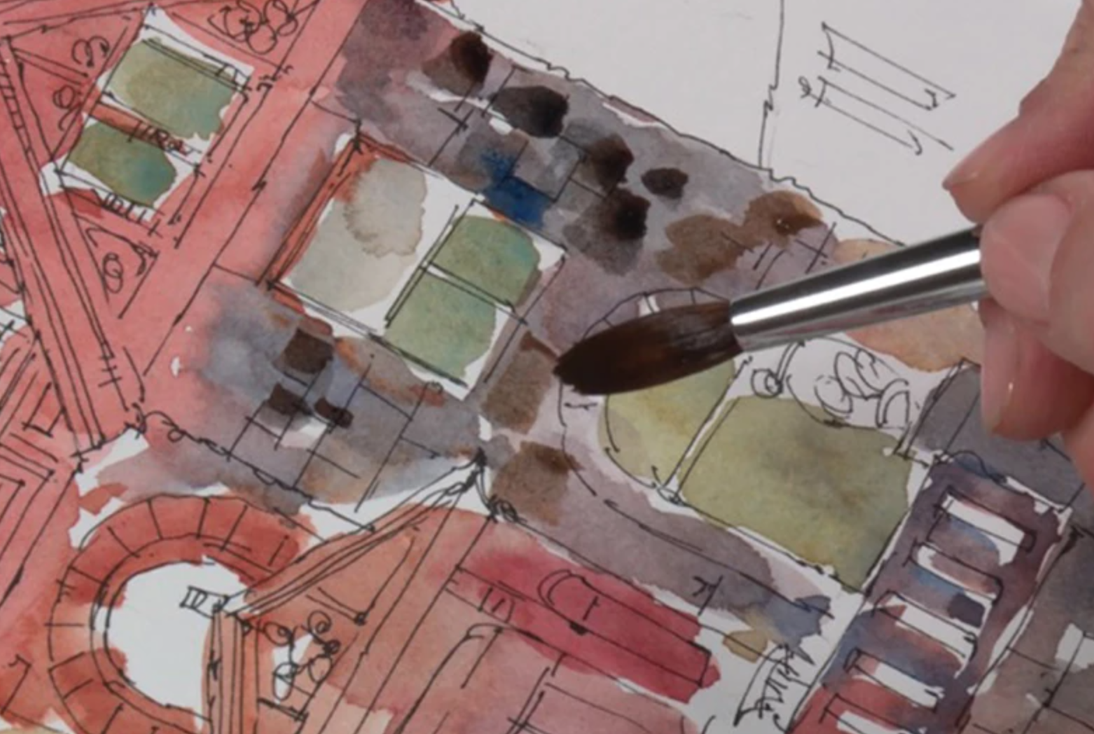 painting building texture in watercolor