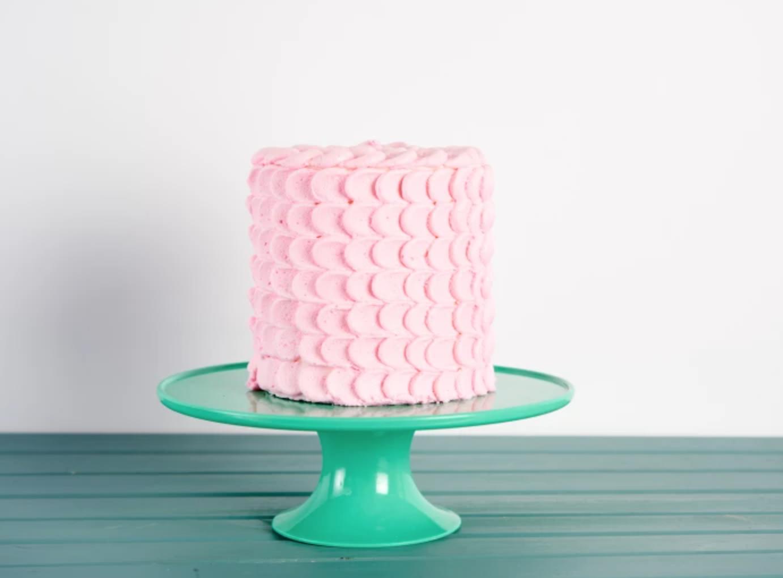 Pink petal piped cake