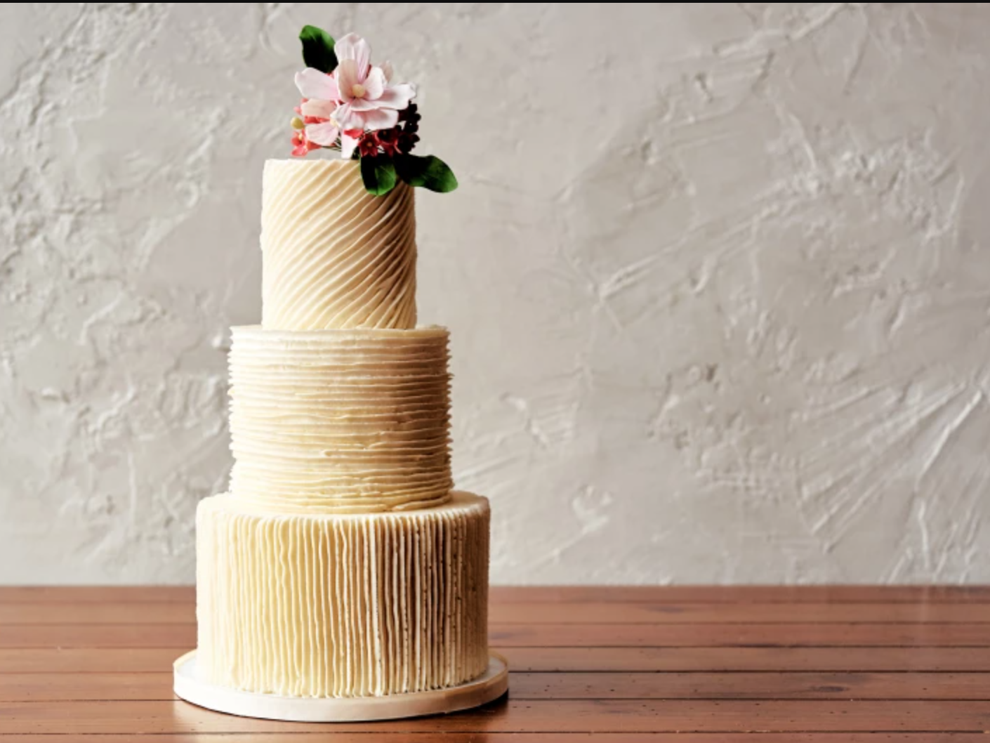piped ridges buttercream tiered cake