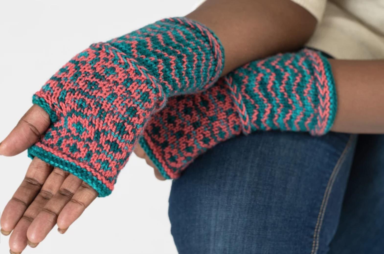 woman wearing fair isle mitts