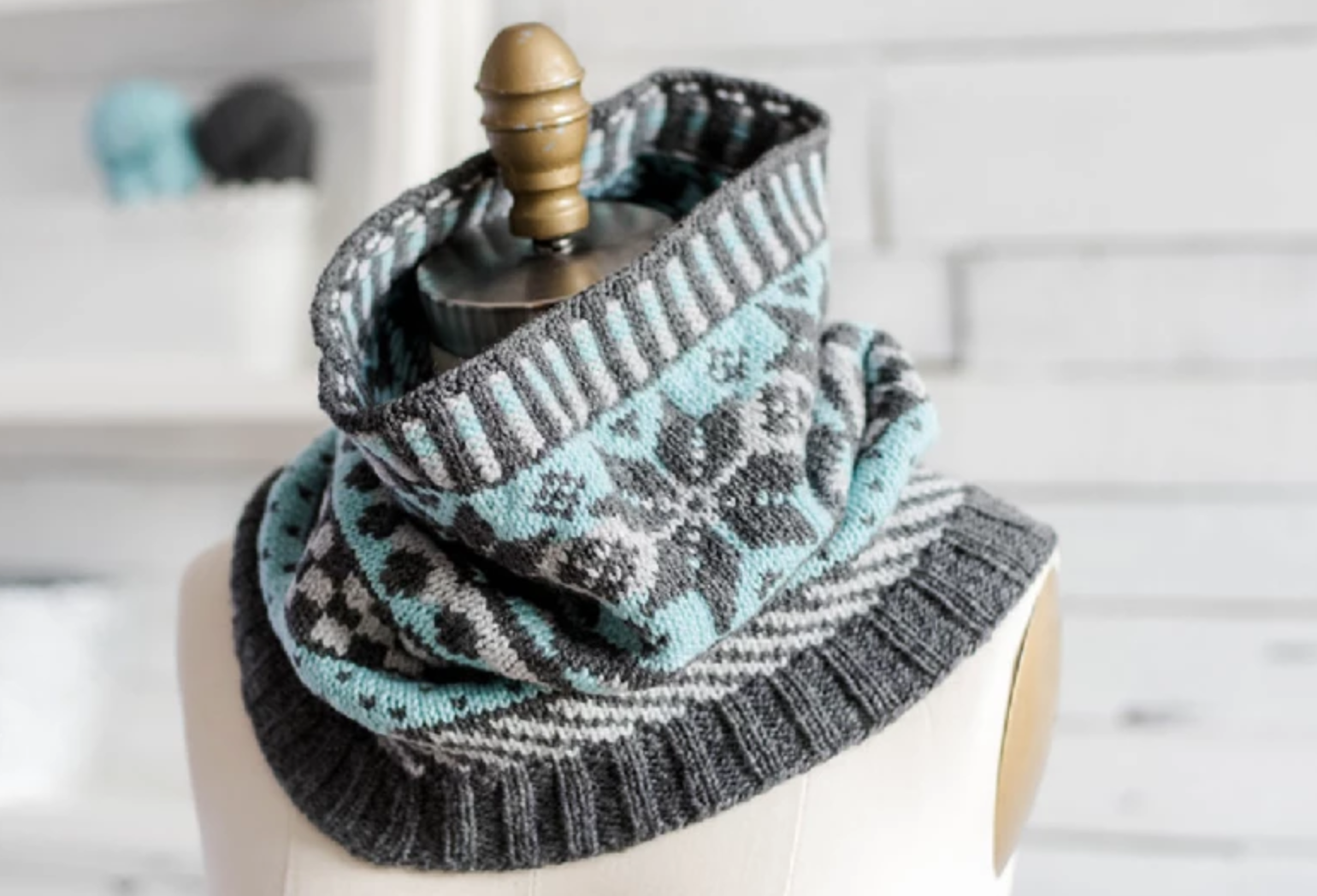stranded knit cowl
