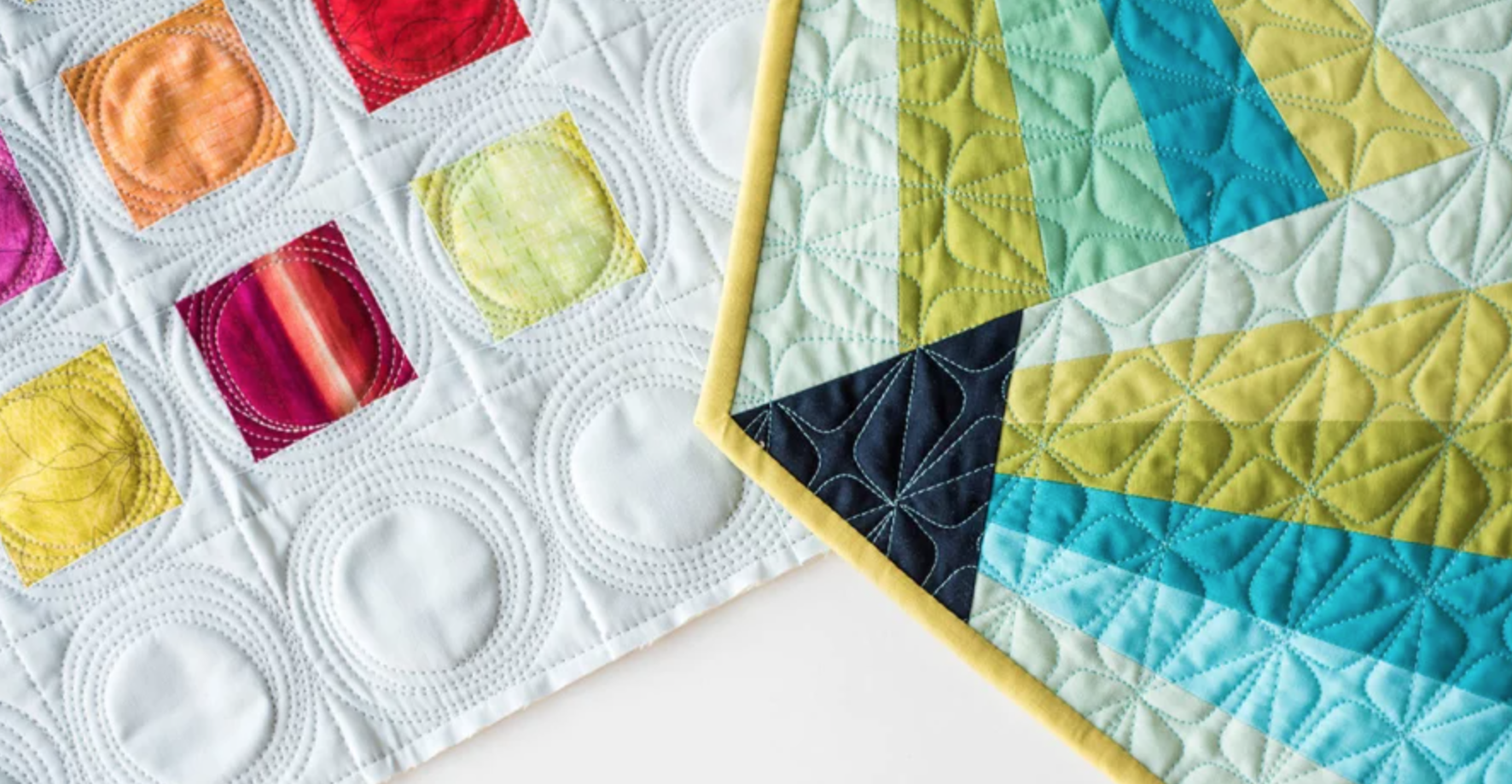 colorful free-motion quilts