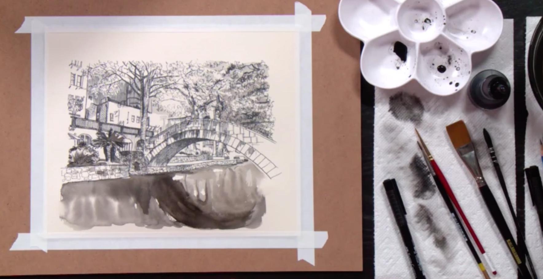 pen and ink bridge drawing
