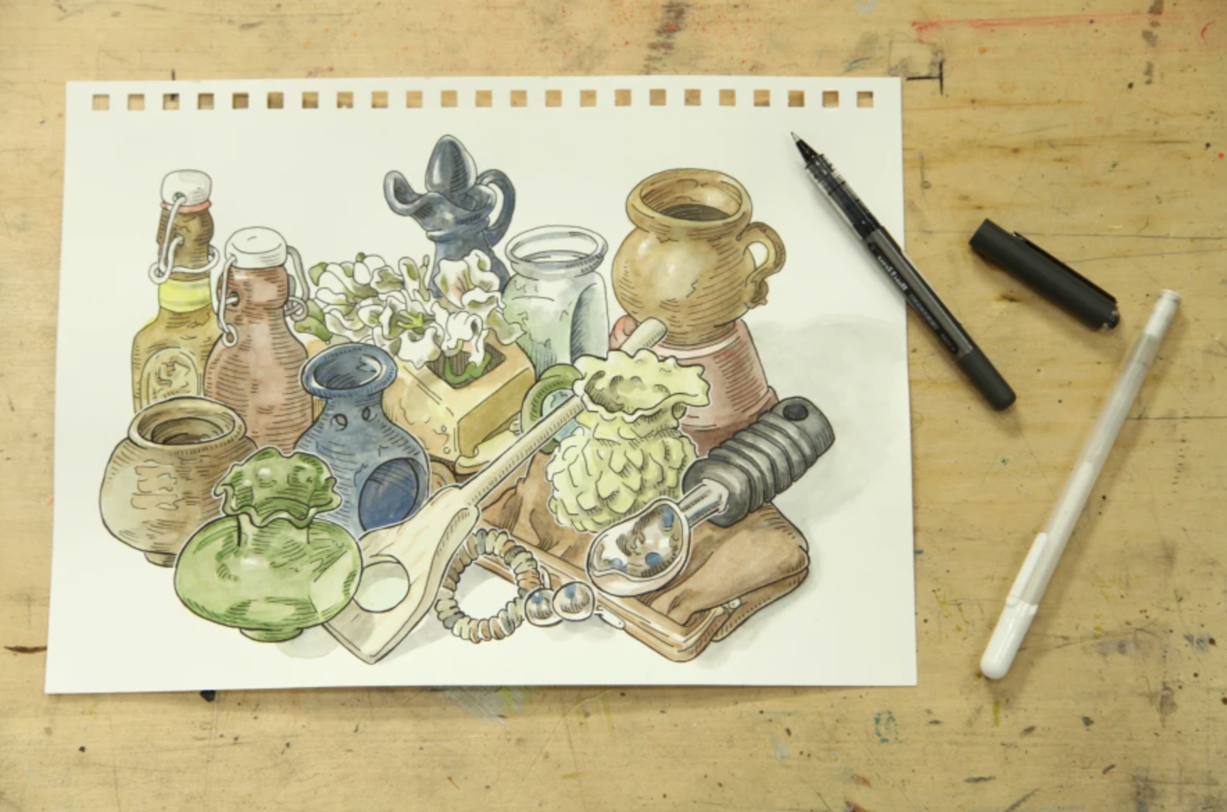 pen ink and watercolor still life