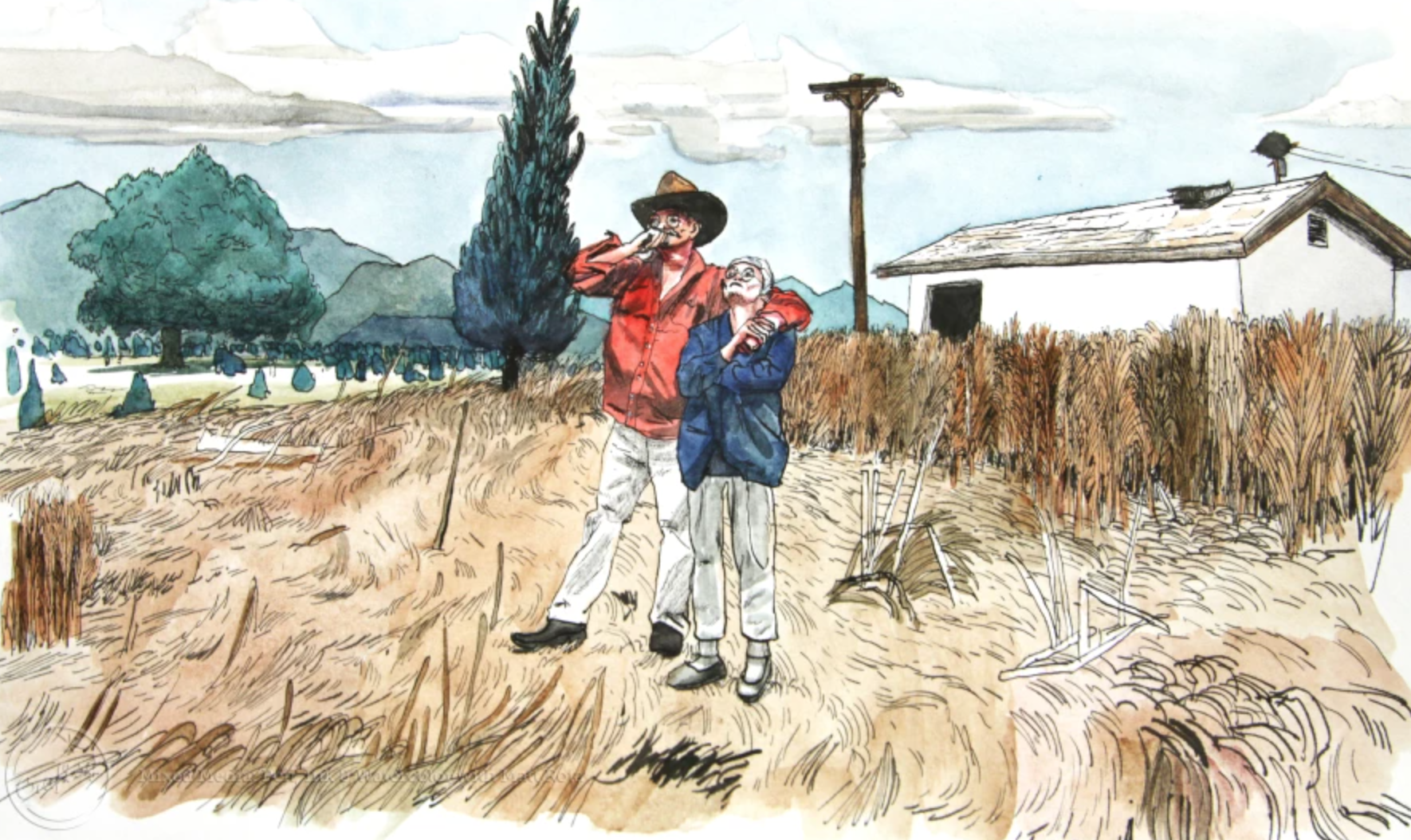 pen ink and watercolor farmers