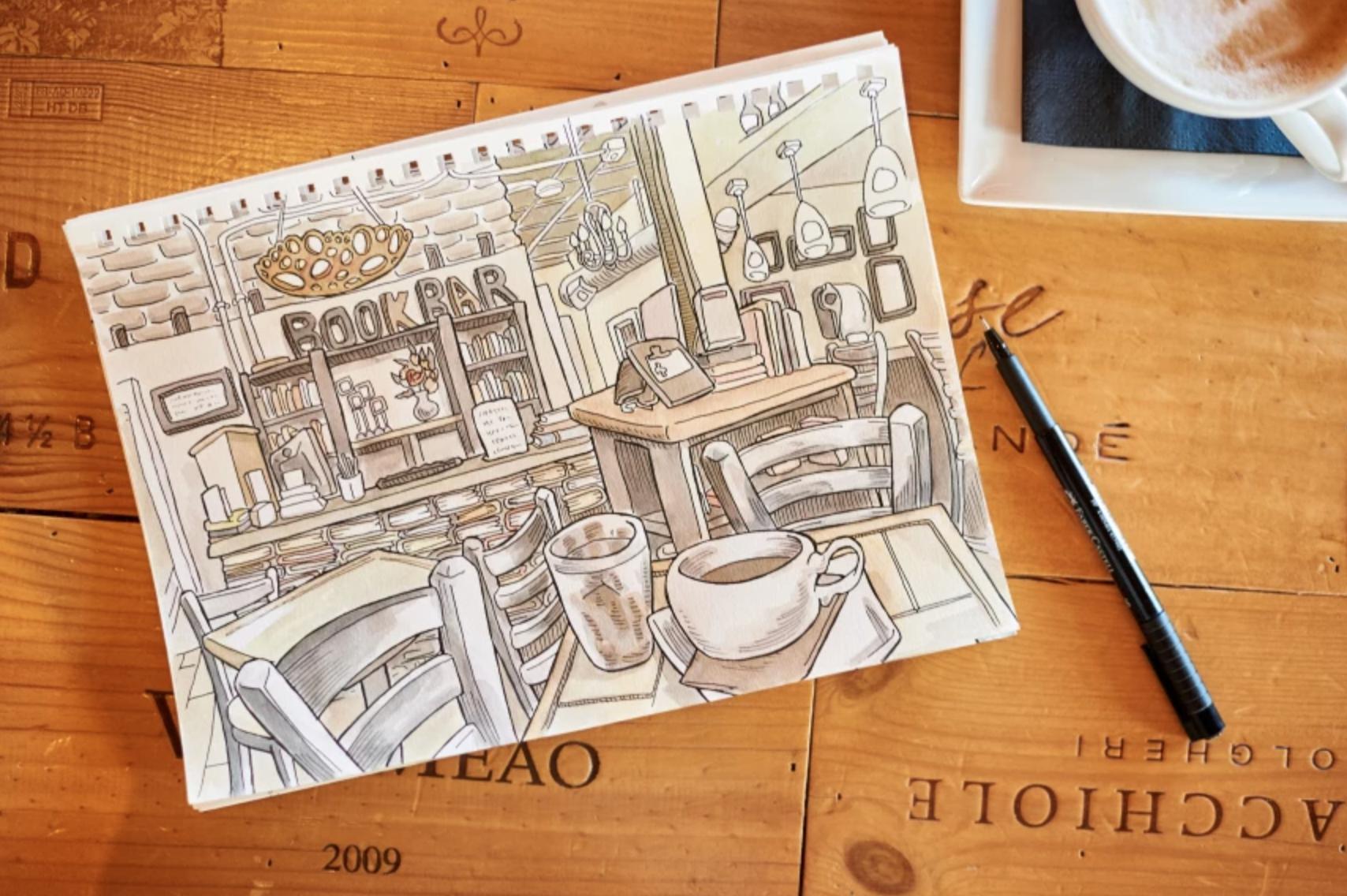 urban sketch of book bar