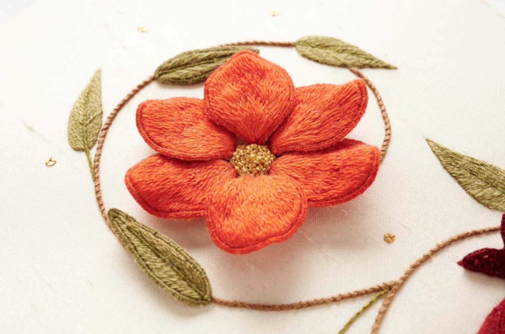 stumpwork embroidery orange flower