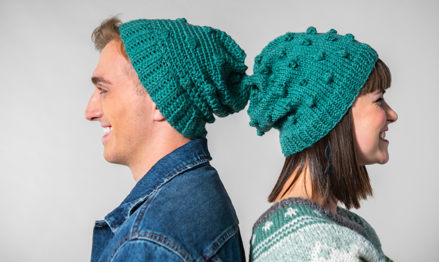 knit and crochet bobble hats