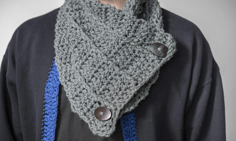 man wearing crochet cowl
