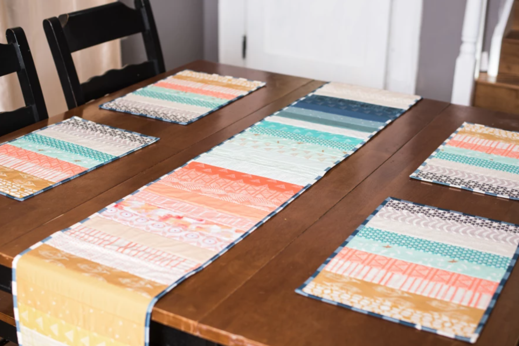 striped quilt as you go table runners