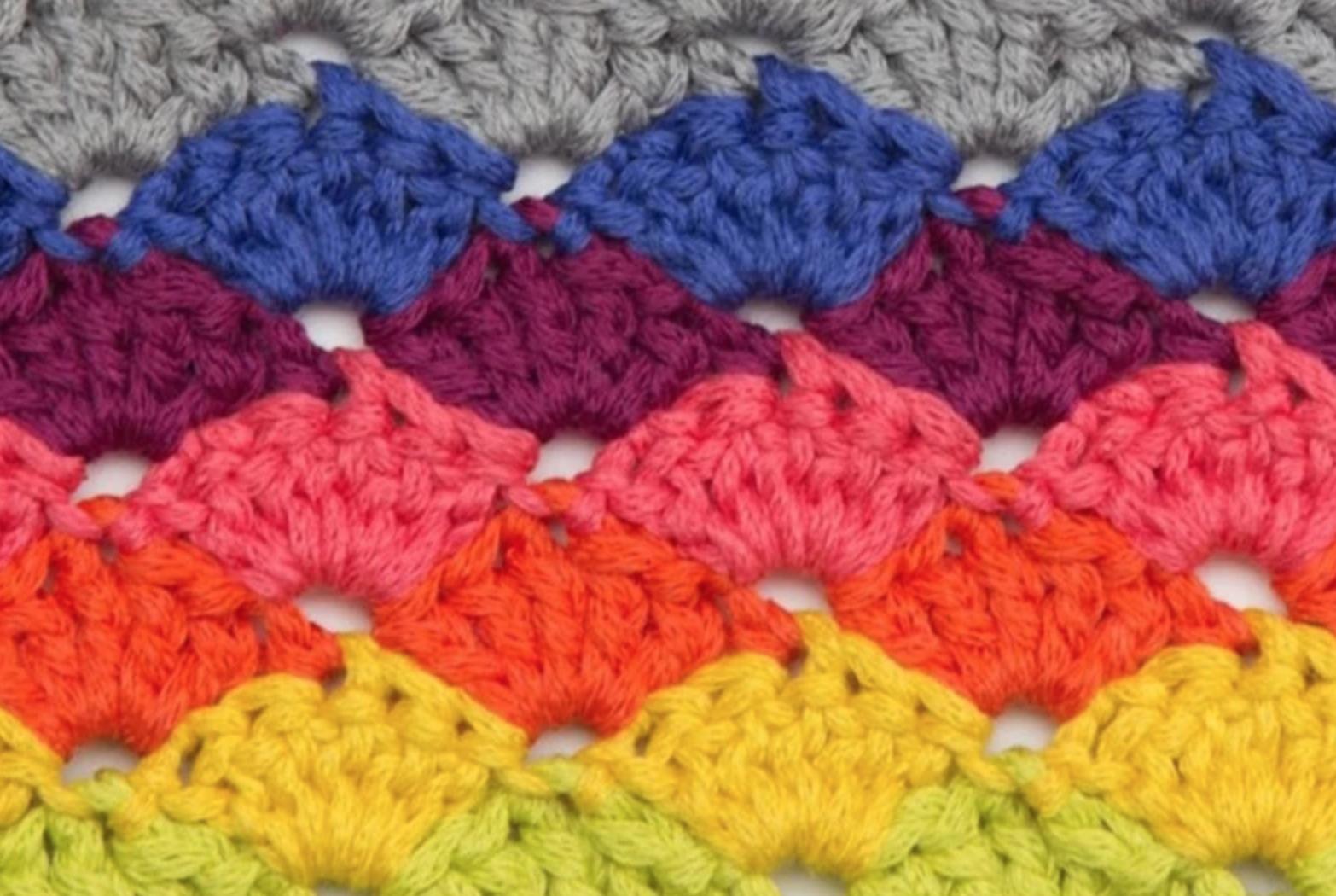 colorful crochet shells