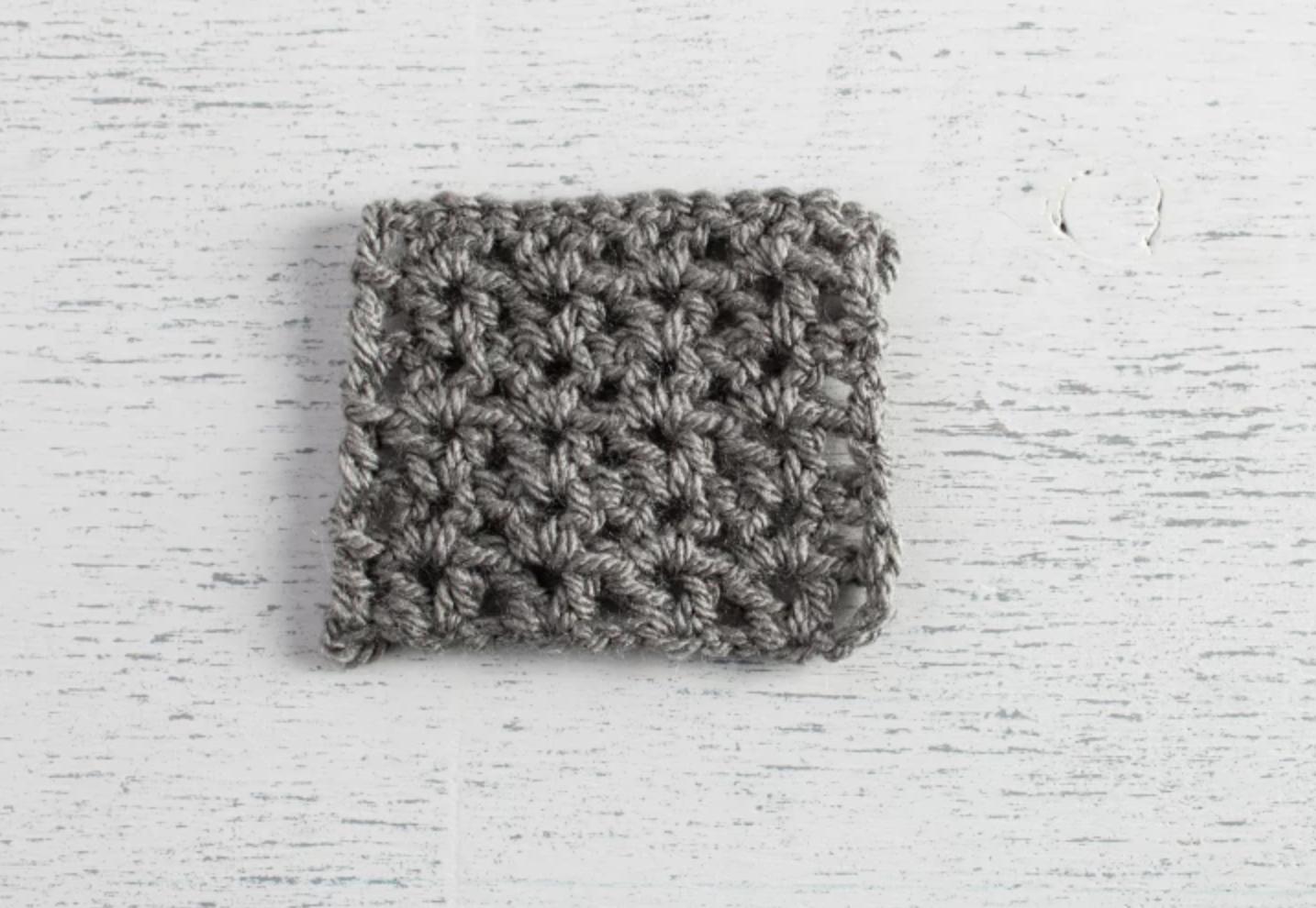 crochet v-stitch swatch