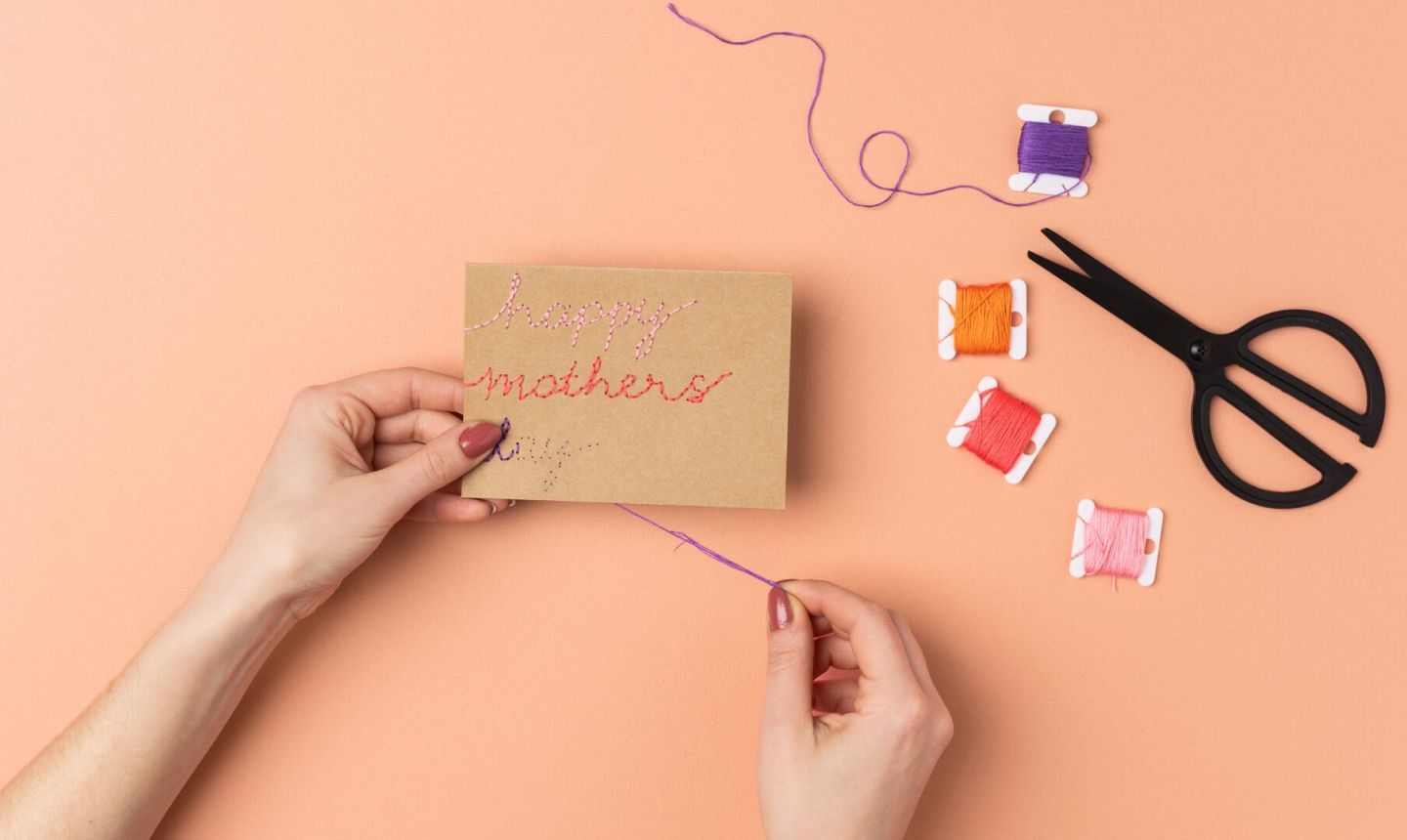 embroidering card