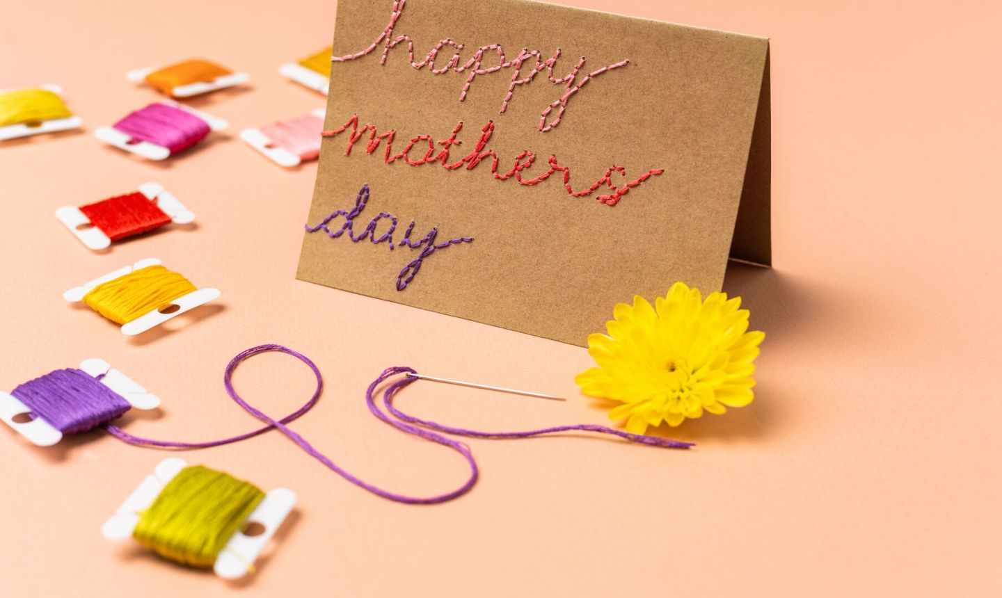 embroidered mothers day card finished