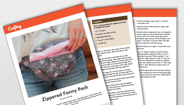 Zippered Fanny Pack Craftsy Titlecard to Pattern