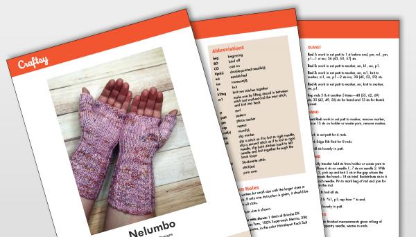 Nelumbo Fingerless Gloves Pattern Titlecard
