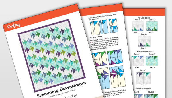 Swimming Downstream Quilt Pattern Titlecard