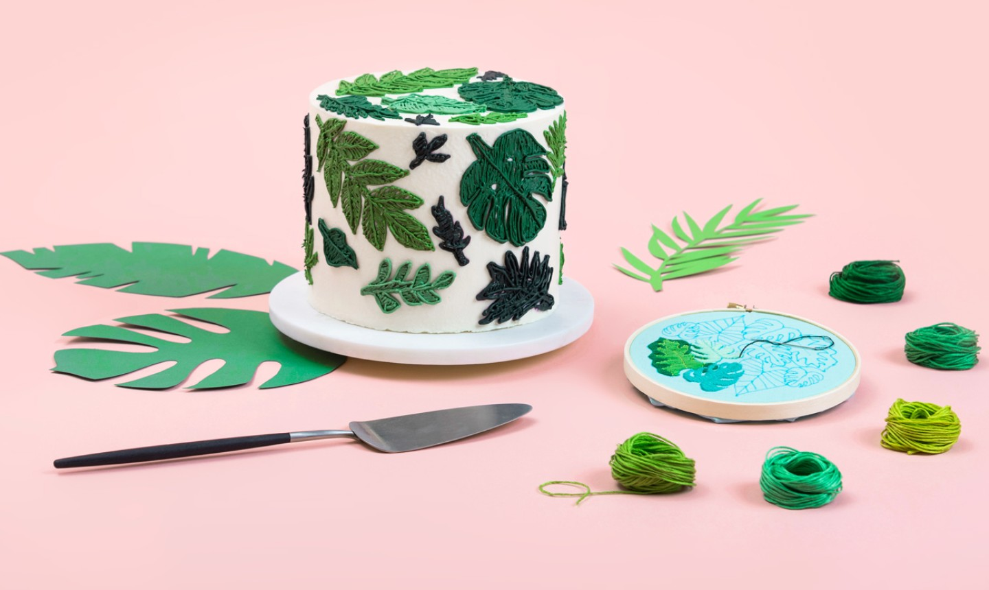 embroidered plant cake