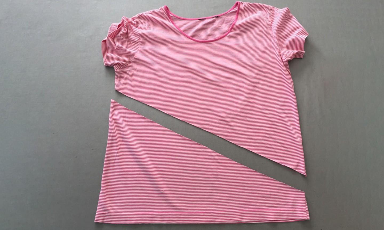 t-shirt cut diagonally