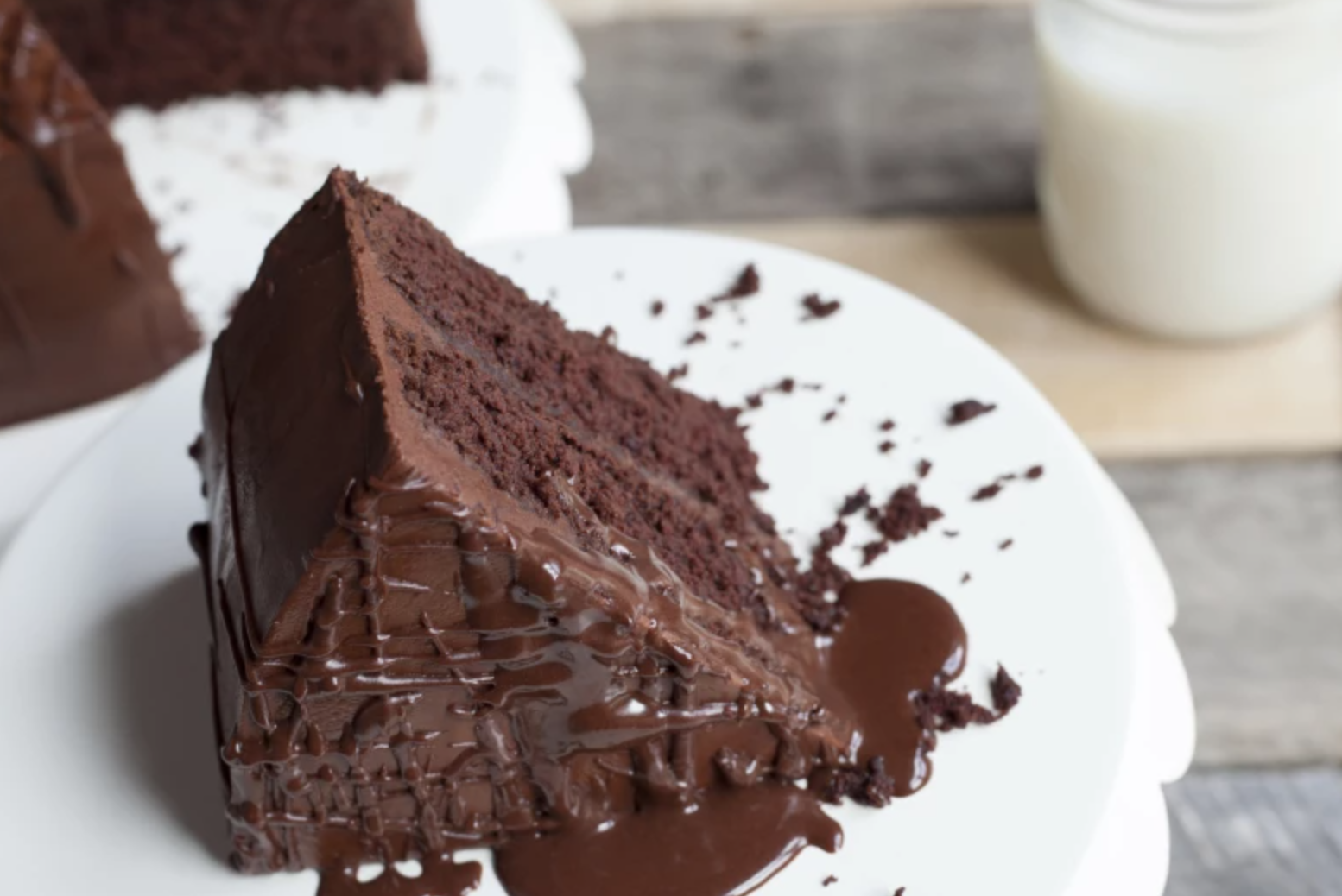 chocolate cake slice on a plate