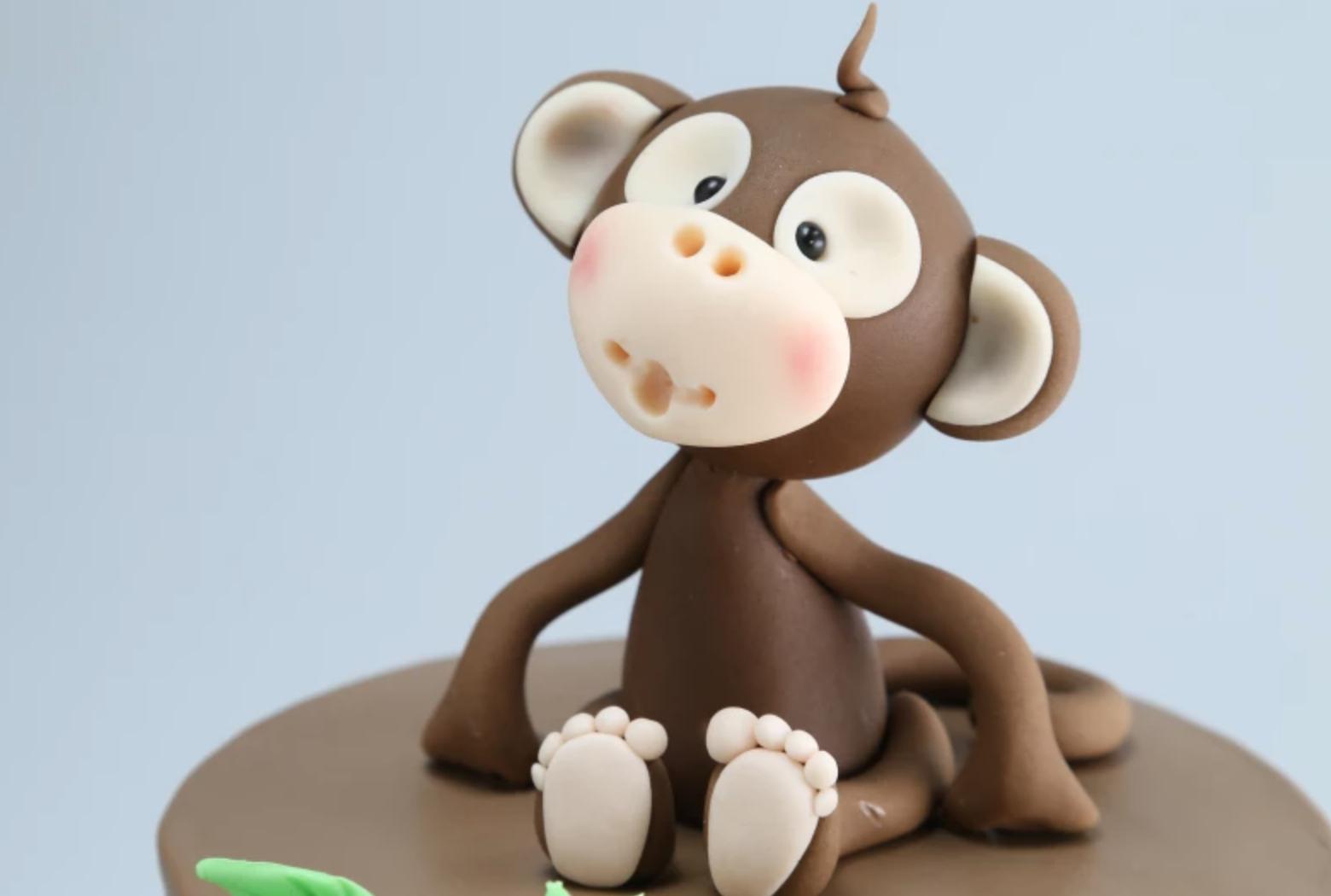 fondant monkey cake topper