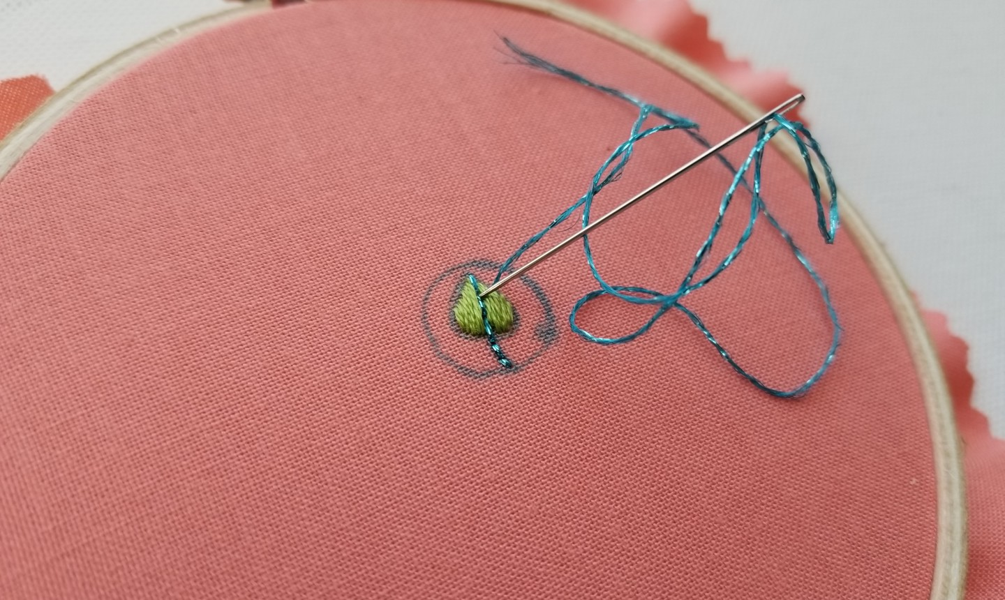 backstitch leaf pendant