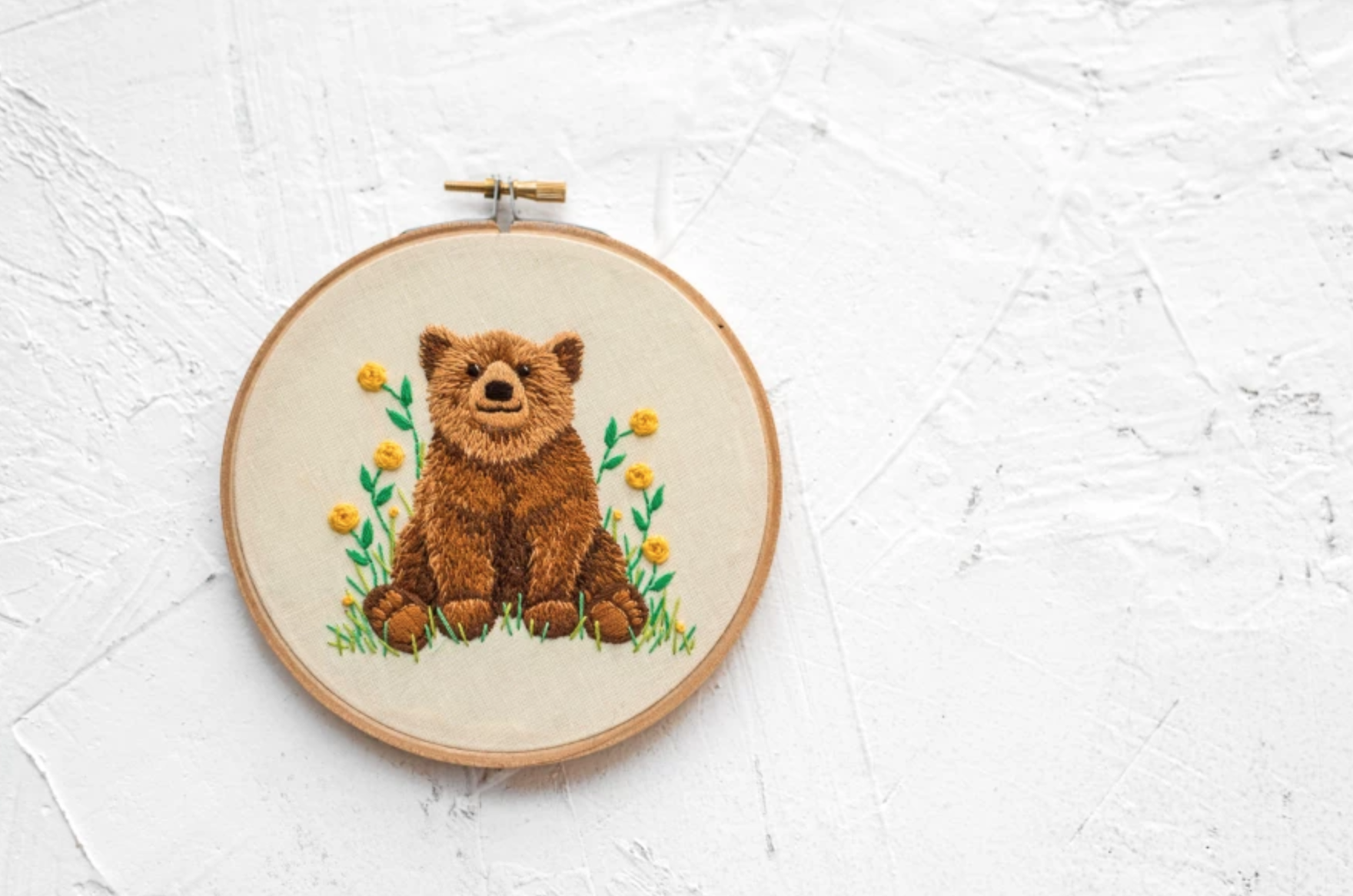 bear cub embroidery hoop