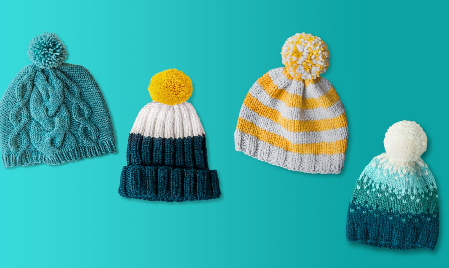 four knit hats