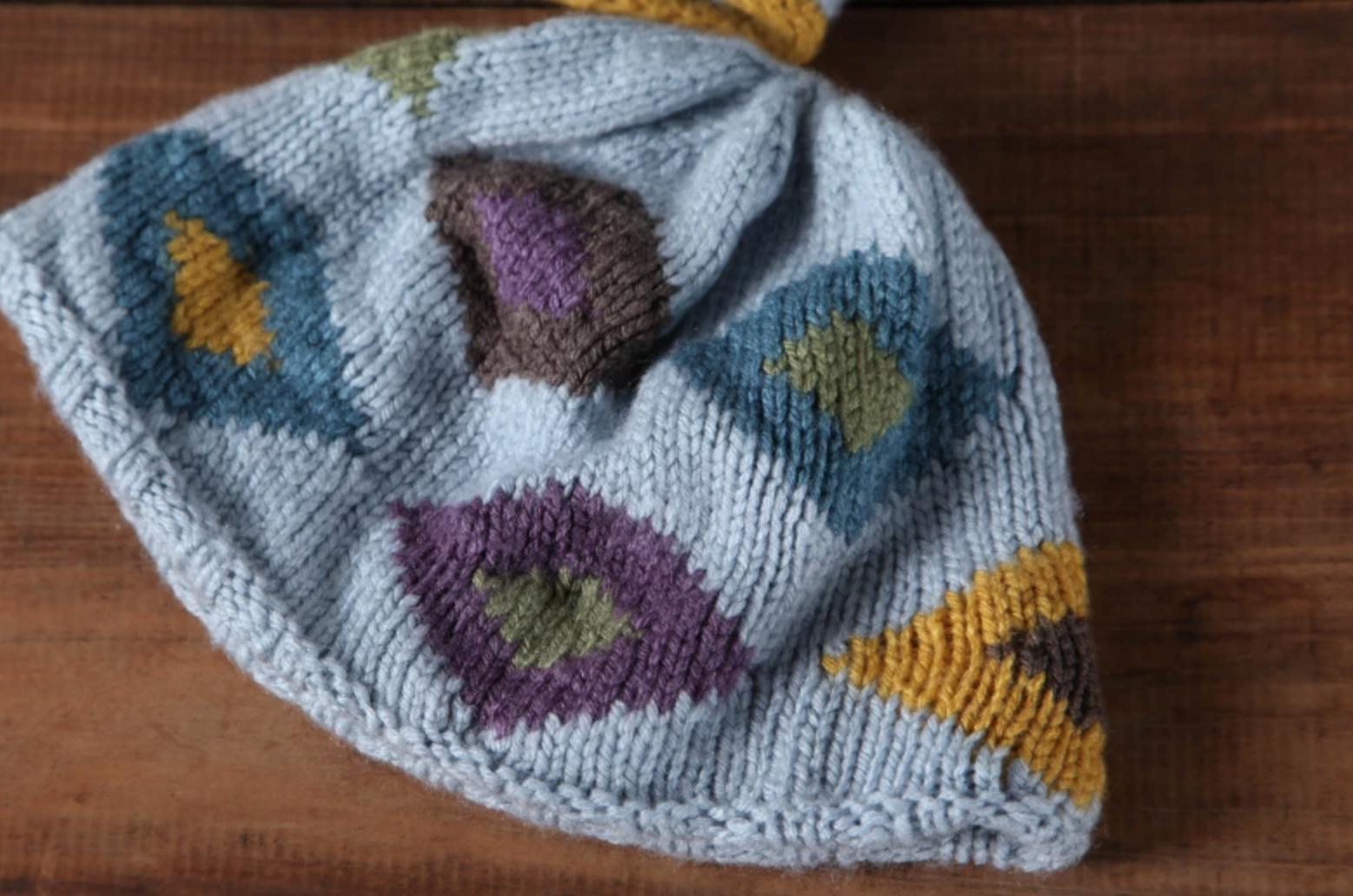 Intarsia knit hat
