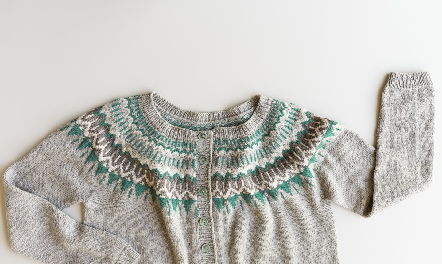 knit sweater with colorwork yoke