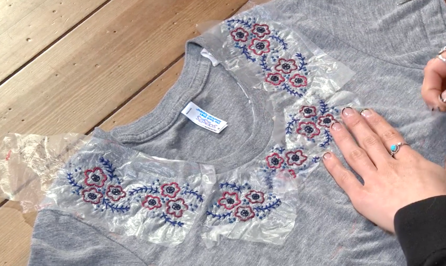 upcycling t-shirt with flower yoke
