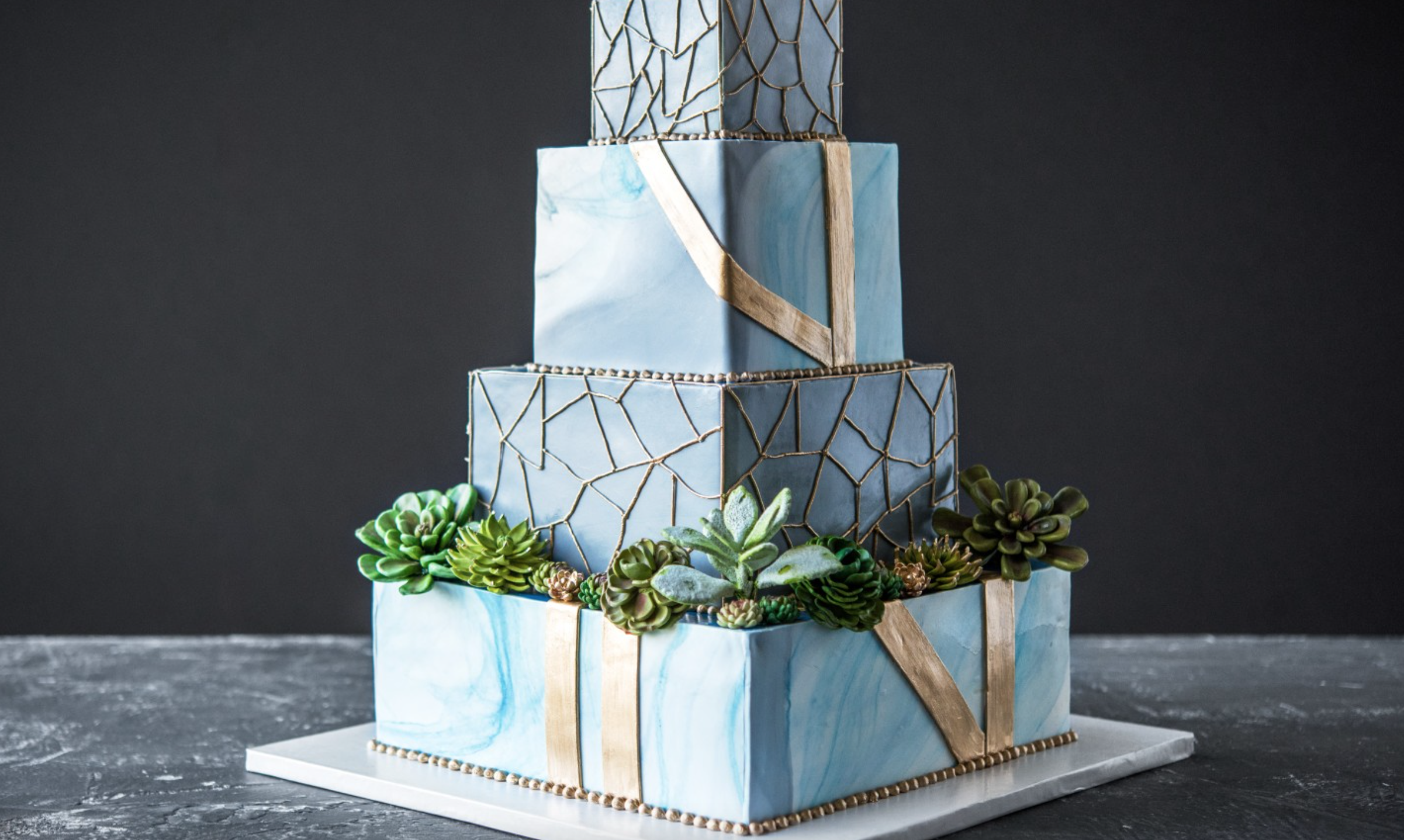 marbled blue succulent tiered cake