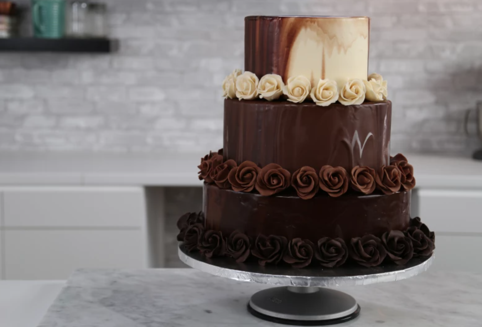 tiered chocolate rose cake