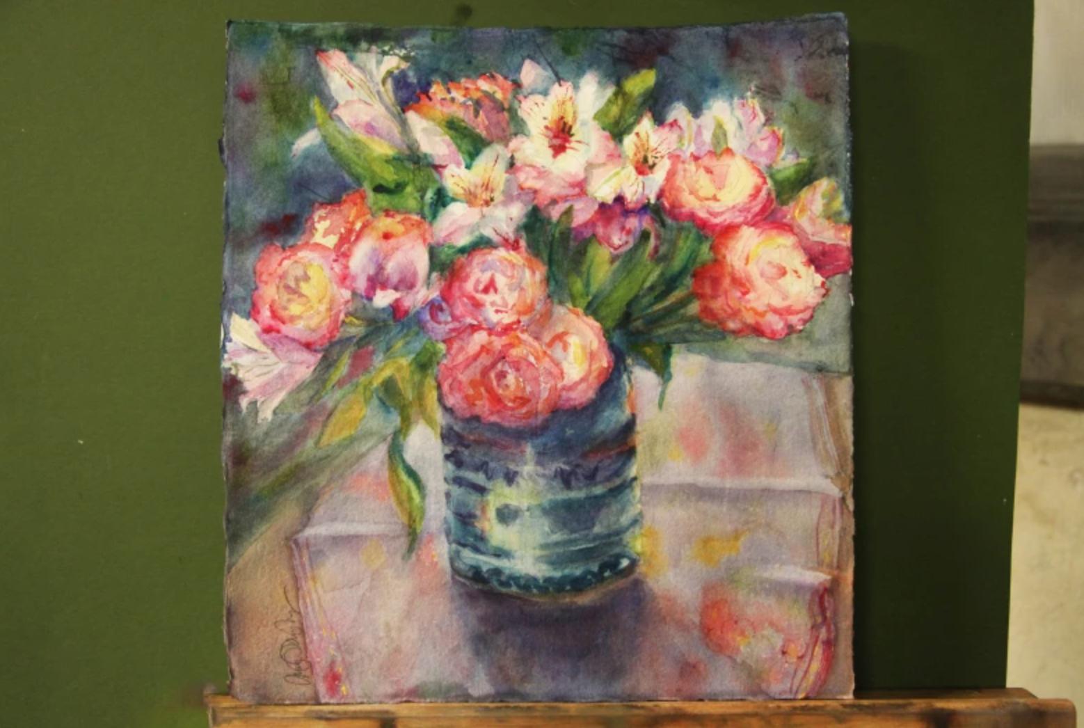 still life watercolor bouquet