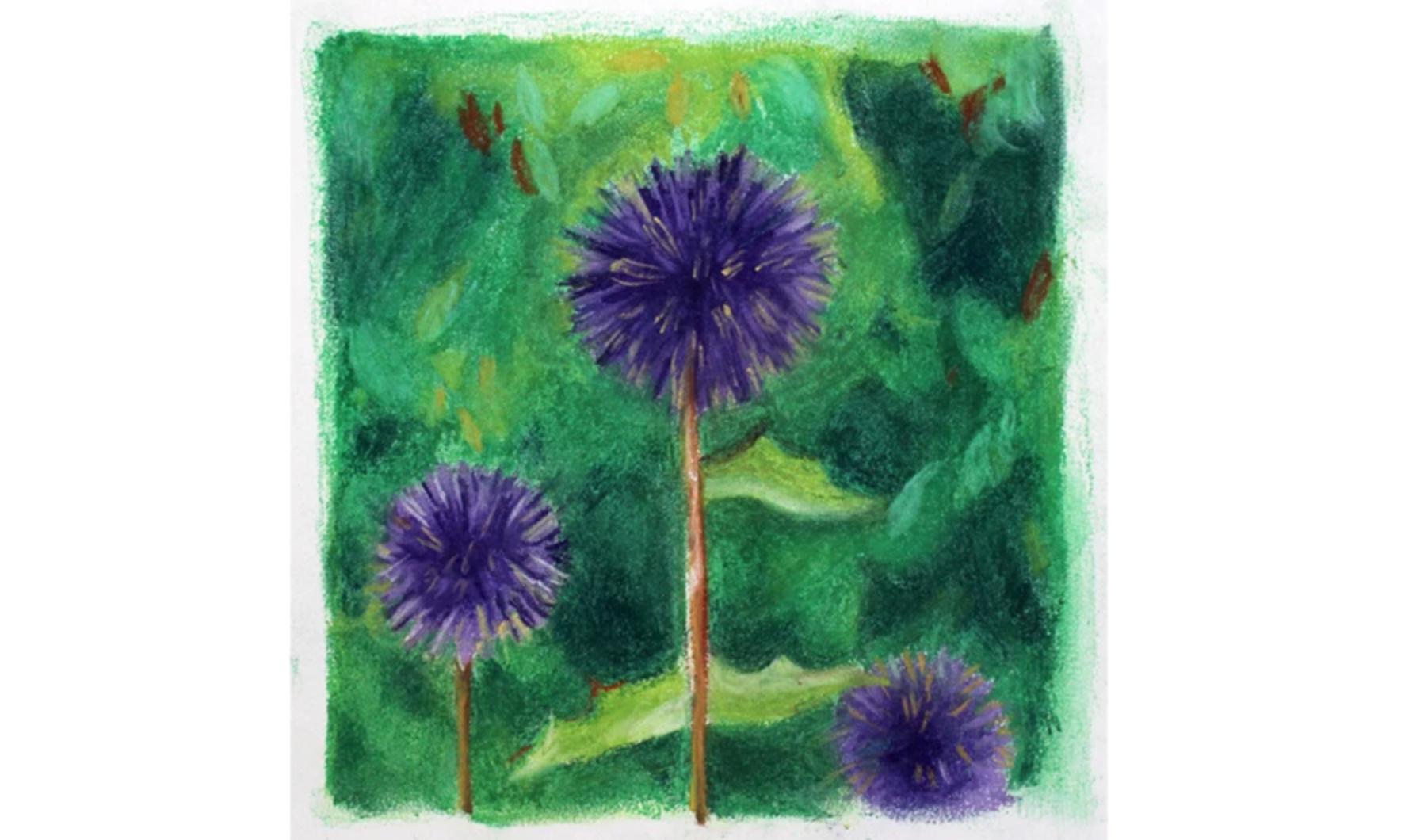 purple pastel flowers