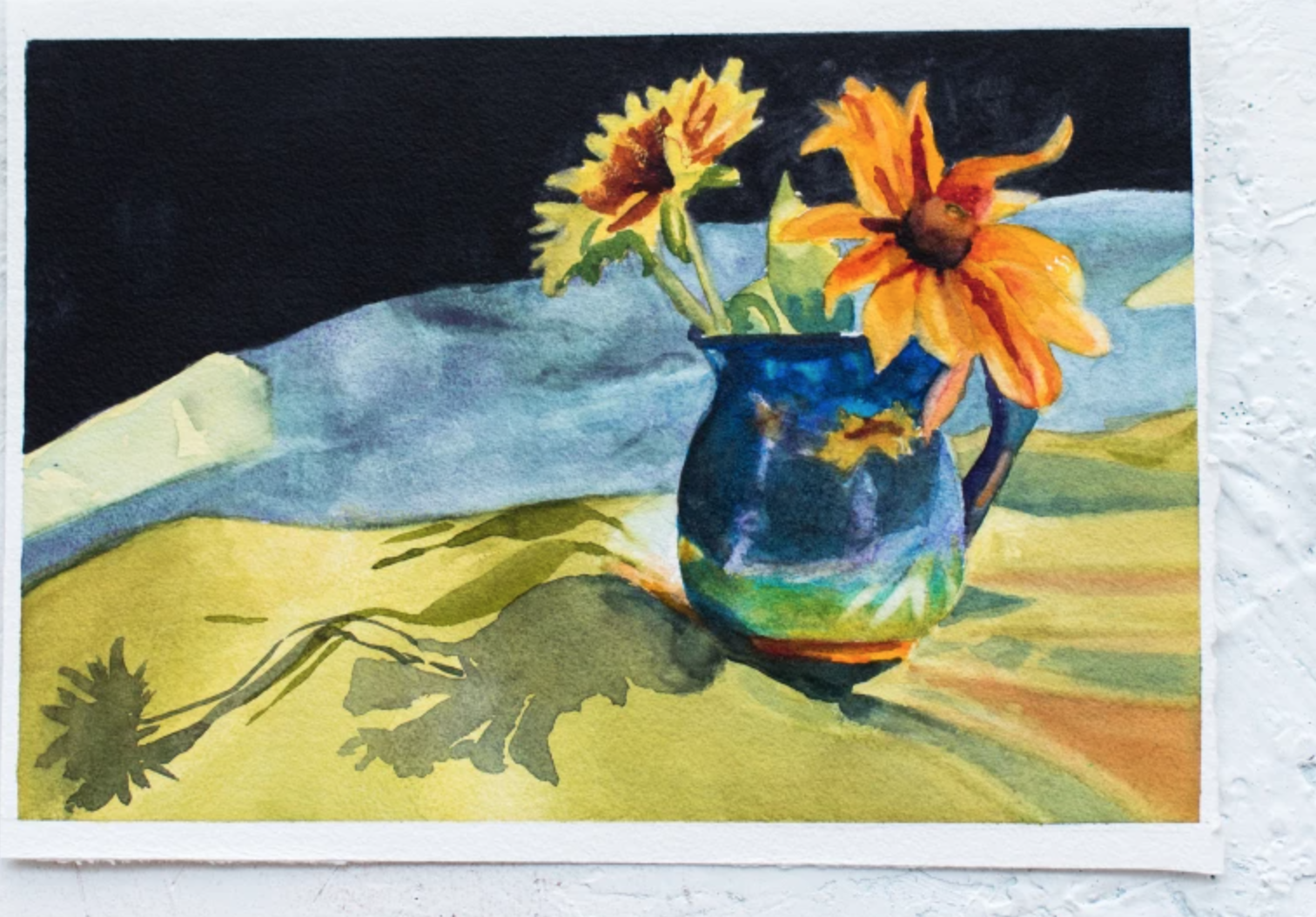 painting of flowers in pitcher