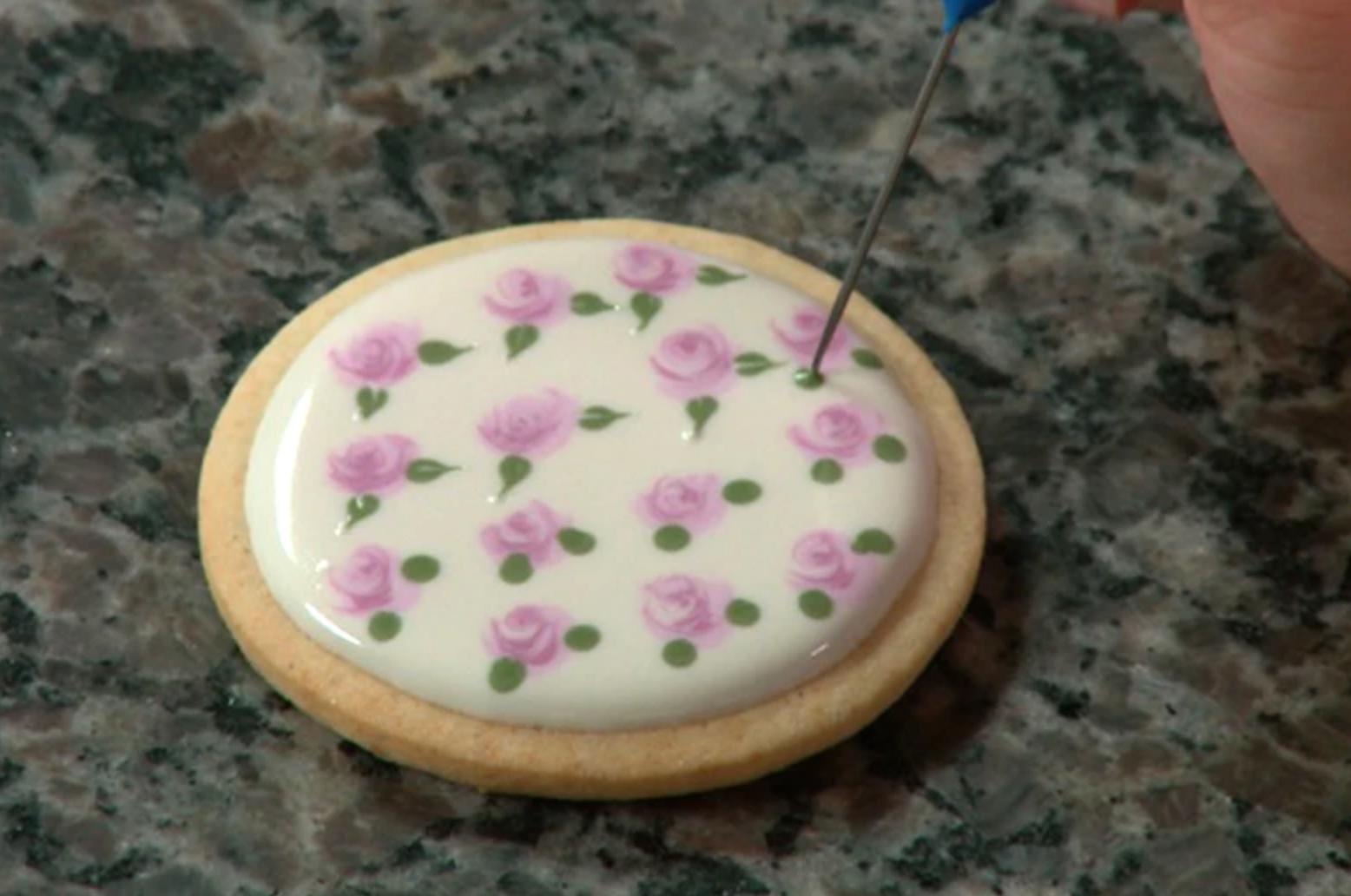 painted rose sugar cookie