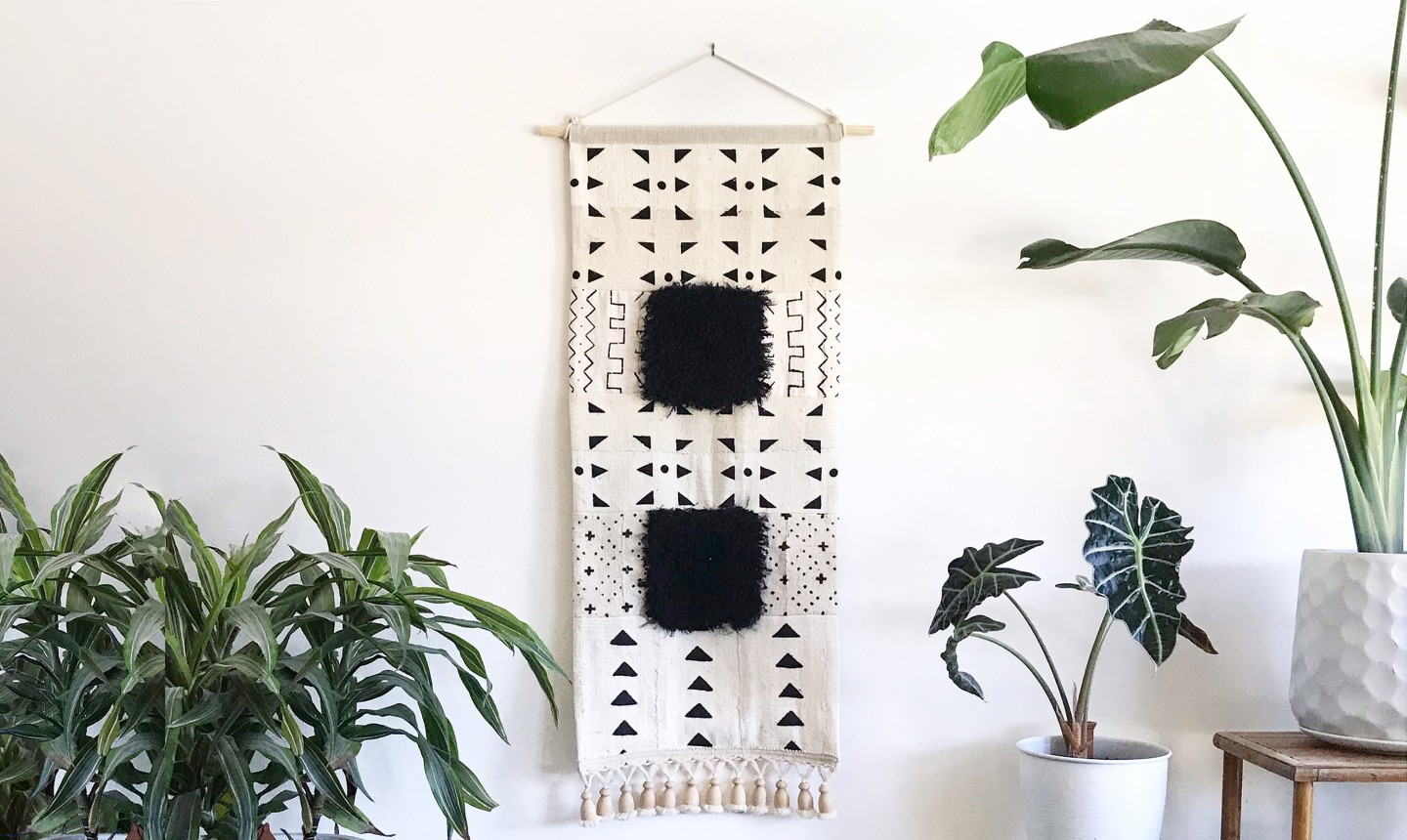 black and white mudcloth wall hanging