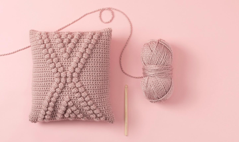 pink crochet bobble pillow