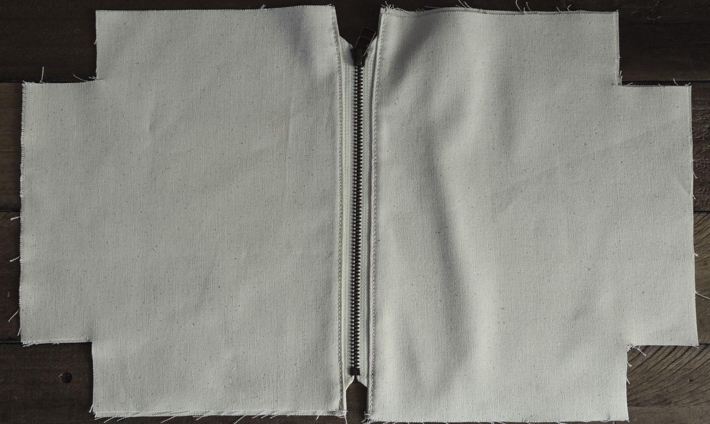 attaching zipper to pouch