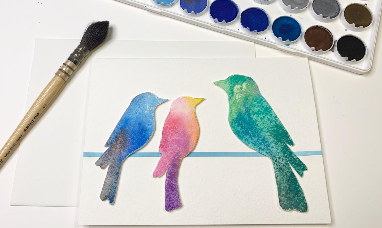 adding birds to card