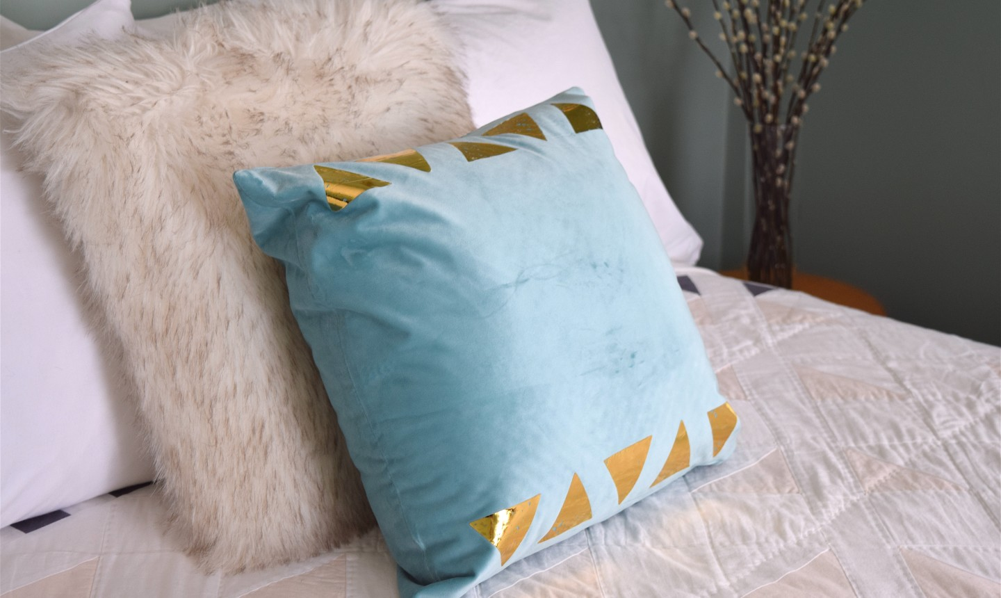 gold triangle pillow
