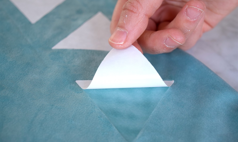 removing adhesive backing
