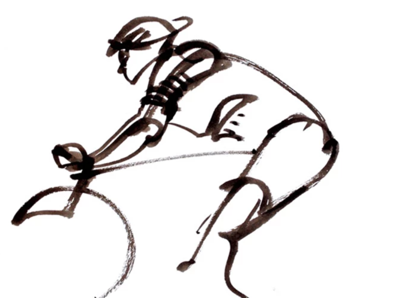 sketch of person on bike