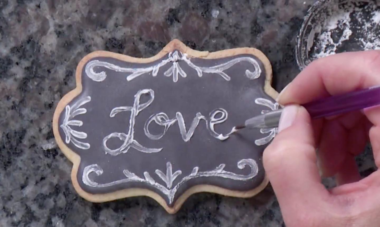 love on chalkboard cookie